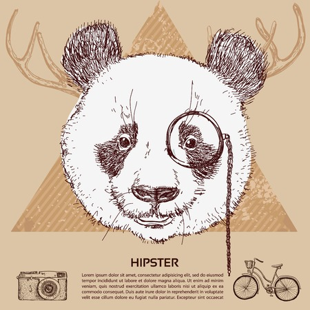Vintage illustration of hipster panda with glasses