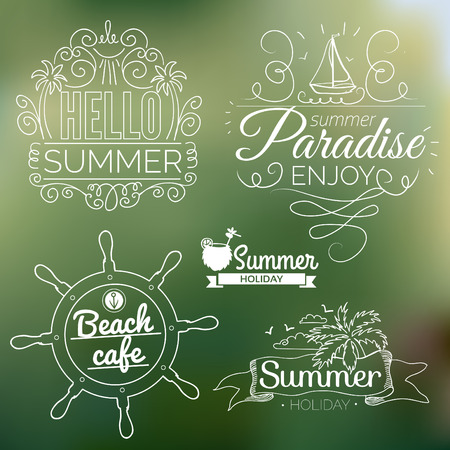 Retro elements for Summer calligraphic designs   Vintage ornaments   All for Summer holidays   tropical paradise, sea, sunshine, weekend tour, beach vacation, bon voyage, adventure labels   vector set Vettoriali