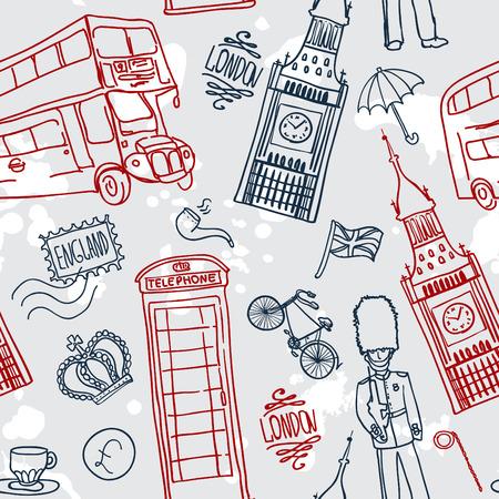 drapeau anglais: fond anglais, doodle icône londres, seamless
