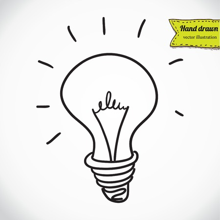 Doodle style light bulb or idea symbol sketch in vector format Vector