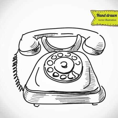 vintage telefoon: Uitstekende telefoon sketch cartoon vector illustratie Stock Illustratie