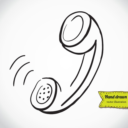 pick light: vector sketch illustration - telephone handset
