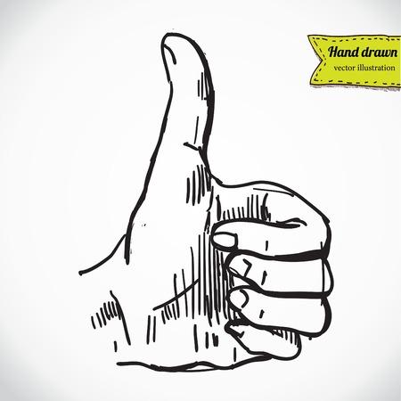 "Thumb up ""like"" hand symbol. Hand drawing sketch vector illustration Stock Vector - 27438694"