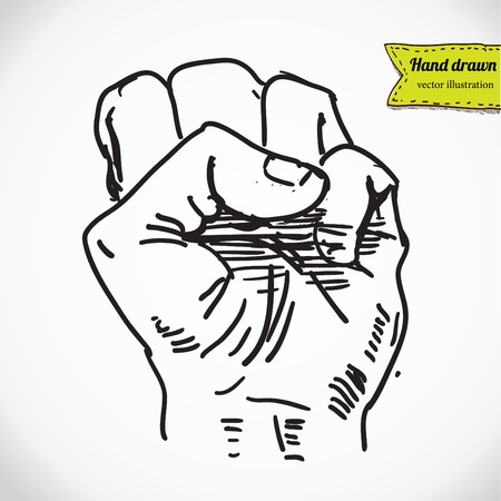 Doodle style protest fist vector illustration Vector