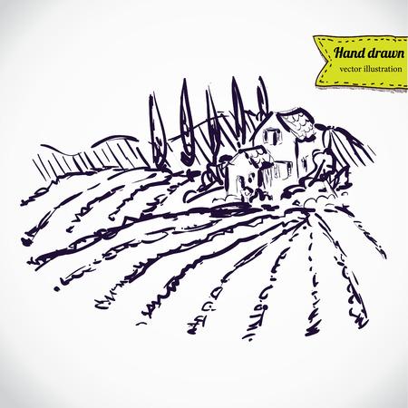 Vintage - vineyard and castle (label design) Vector