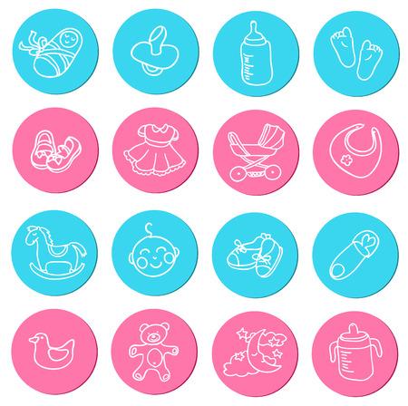calzado de seguridad: Conjunto de doodlesicons coloridos sobre art�culos para beb�s