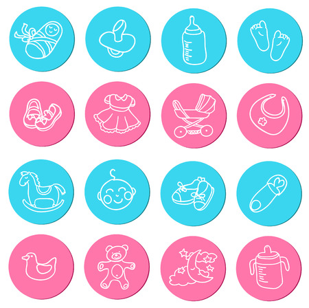 Set of colorful doodlesicons about baby goods Vector