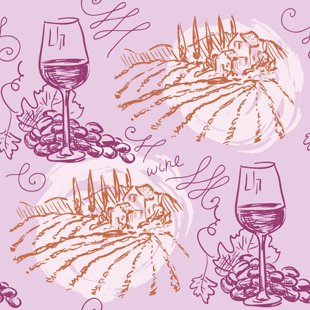 Hand drawn pattern- wine and winemaking- chalkboard Vector