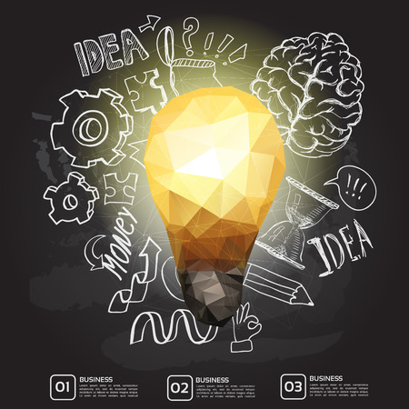 lightbulb: Set of thinking doodles elements, idea triangle card on chalkboard Illustration