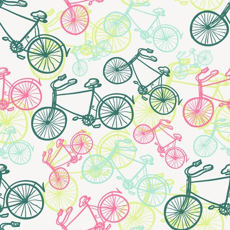 velocipede: Seamless bicycles pattern. Stylish sporty print Illustration