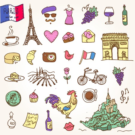bonjour: Symbols of France as funky doodles Illustration