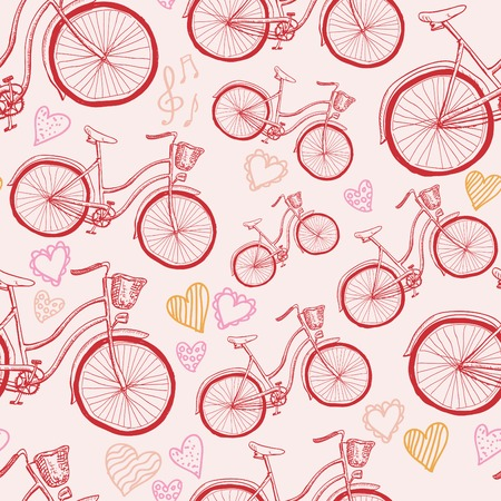 Seamless bicycles pattern. Vector