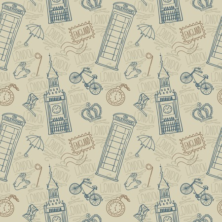 english background, doodle icon london seamless pattern Vector
