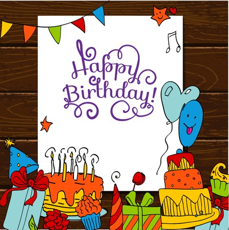 cartoon birthday cake: Happy Birthday card background with cakes on wooden table