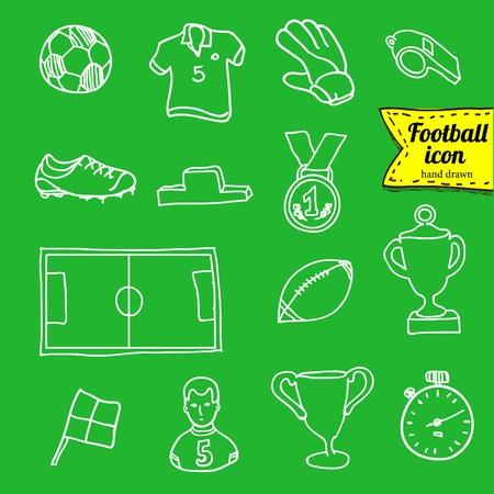kickoff: vector blue soccer icon set on white Illustration