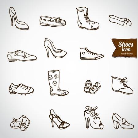 Mega shoes icon set Vector