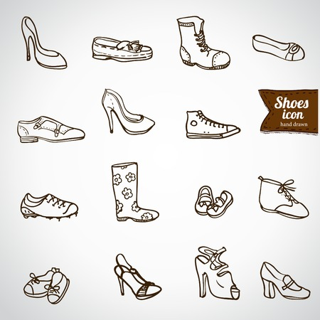 high detail: Mega shoes icon set