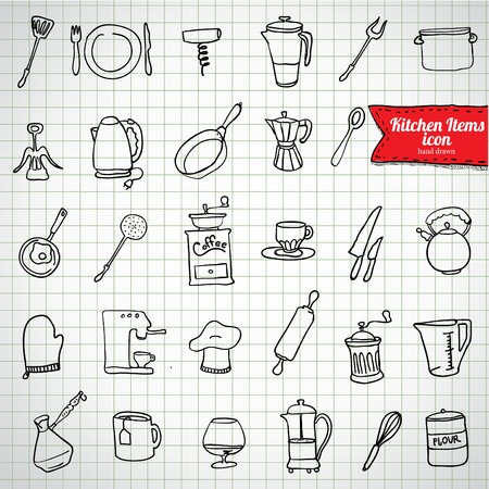 Set of food and drinks icons. Vector illustration. Vector