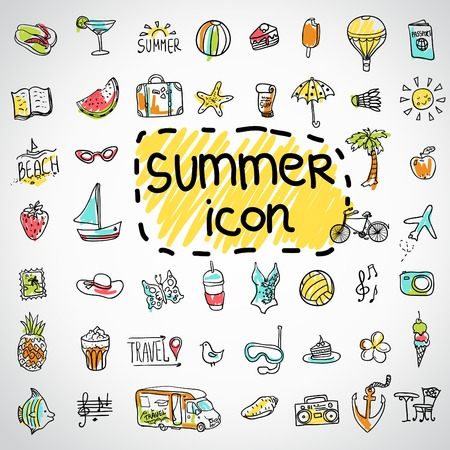 Set of  vector doodle summer icons Vettoriali