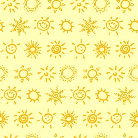 Seamless pattern with sun. Vector illustration. Illustration