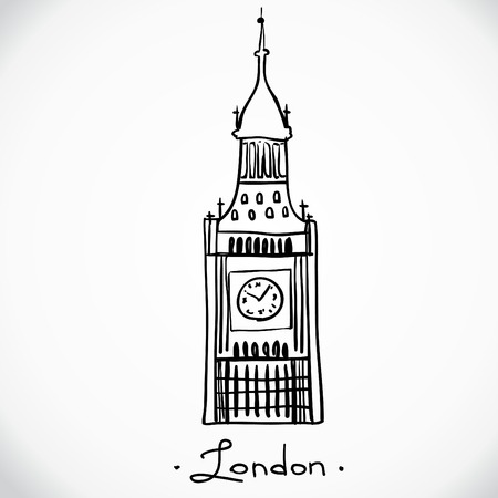 houses of parliament london: World famous landmark series  Big Ben, London, England Illustration