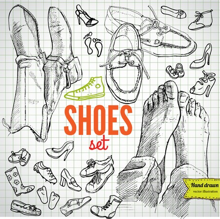 shoes vector: Vector Set of Sketch Shoes