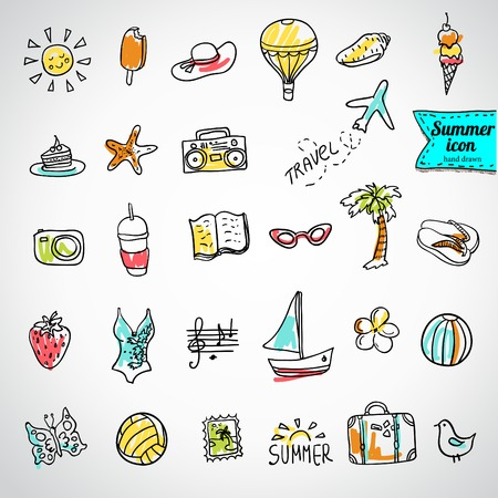 beach butterfly: Set of  vector doodle summer icons Illustration