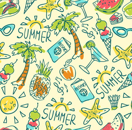 Seamless pattern of  vector doodle summer icons
