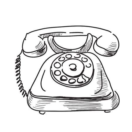 cable telefono: Ilustración dibujados a mano de dibujos animados de teléfono antiguo boceto