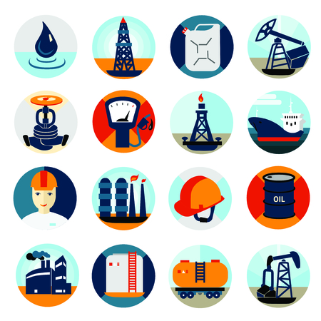 industrial drop: Oil and petroleum icon set, flat isolated vector illustration