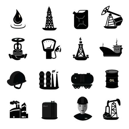 gas can: Oil and petroleum icon set, flat isolated vector illustration