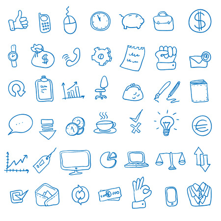 doodle office, business icons set, photo