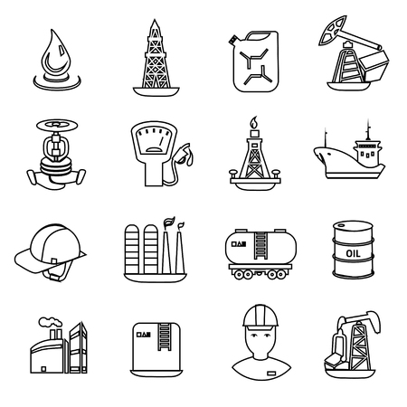 oil well: Oil and petroleum icon set, flat isolated vector illustration