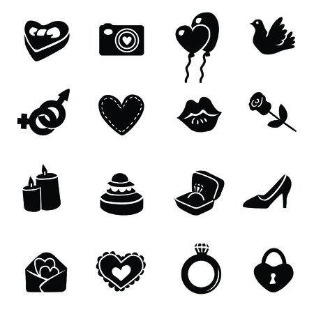 hands fire passion: Set valentines day icons, vector signs