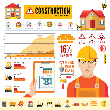 graders: Detail infographic vector illustration with. Industrial and building infographics and Information