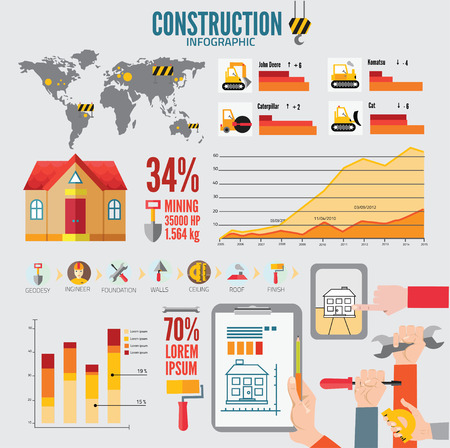 build info graphic vector with map of World Vector