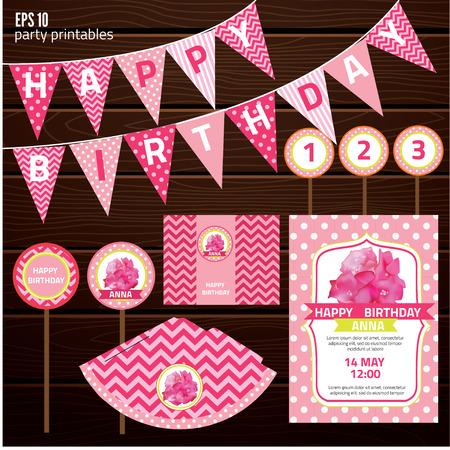 marco cumpleaños: Conjunto de elementos de diseño para la fiesta de cumpleaños, diseño de tarjeta de invitación niña. ilustración vectorial Vectores