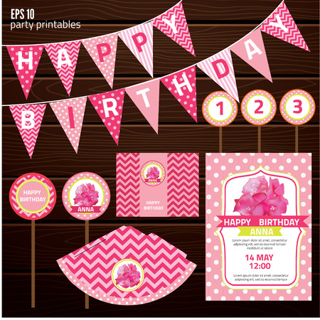 birthday party kids: Set of design elements for birthday party, kid invitation card design. vector illustration