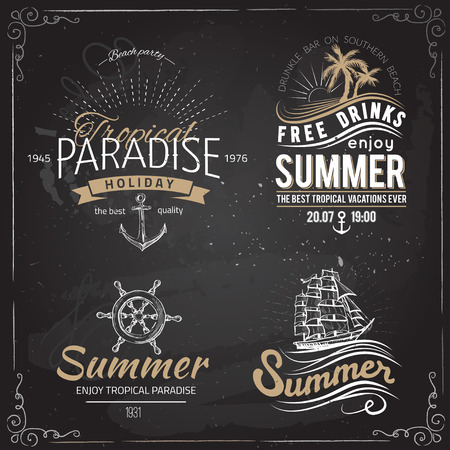 summer beach party: Retro elements for Summer calligraphic designs | Vintage ornaments | All for Summer holidays | tropical paradise, sea, sunshine, weekend tour, beach vacation, bon voyage, adventure labels | vector set Stock Photo
