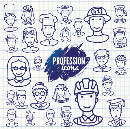 Avatar doodle design icons. People icons. Vector