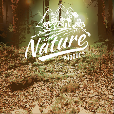 Vector blurred landscape,  forest, eco badge, ecology label, nature view. Forest blur background, web and mobile interface template. Eco design. Vectores