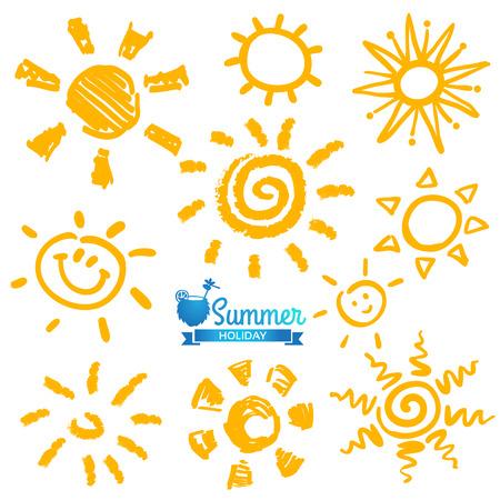 sol radiante: Aislado Conjunto de vectores de diferentes soles, dibujado a mano ilustración