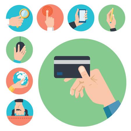 social: Hands with business object icons set, Flat Design Vector illustration Illustration