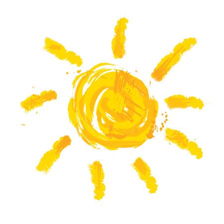 słońce: Akwarela słońce, promienie płaskim ikona sylwetka zbliżenie na białym tle. Sztuka projektowania logo