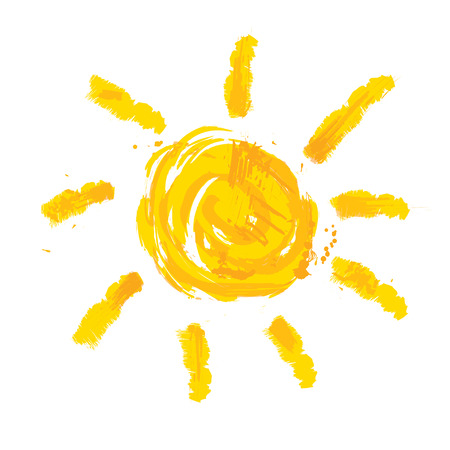 sun beach: Watercolor sun, rays flat icon closeup silhouette isolated on white background. Art logo design Illustration