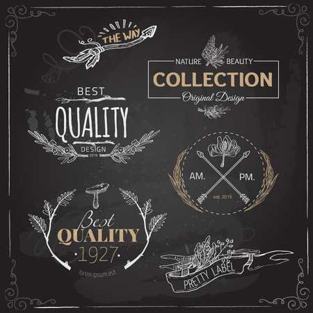 Set of vintage and modern farm logo labels and designs Vectores