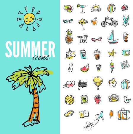 Set of  vector doodle summer icons Vector