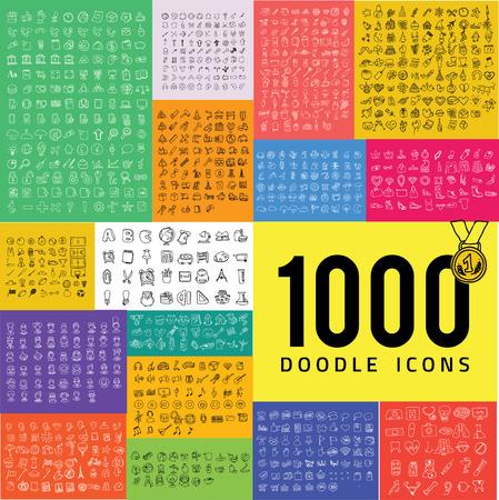 Set van 1000 doodle icon
