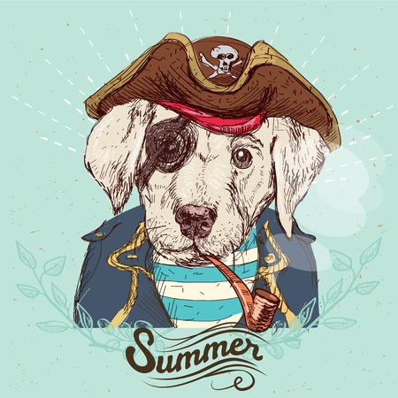 marinero: Ilustración del perro del pirata sobre fondo azul en el vector