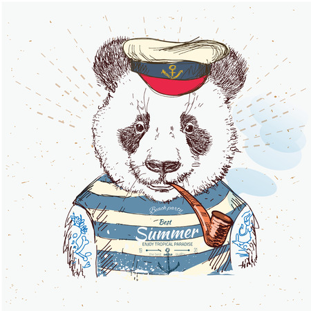 panda: Illustration of pirate  panda on blue background in vector